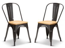 Pair of 2 Graphite Grey With Oak Seat Metal Industrial Tolix Style Dining Chairs 1/2 Price Deal